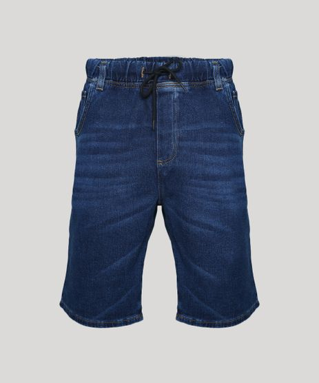 Bermuda-Jeans-Masculina-em-Moletom-Relaxed-com-Bolsos-Azul-Escuro-9952810-Azul_Escuro_1