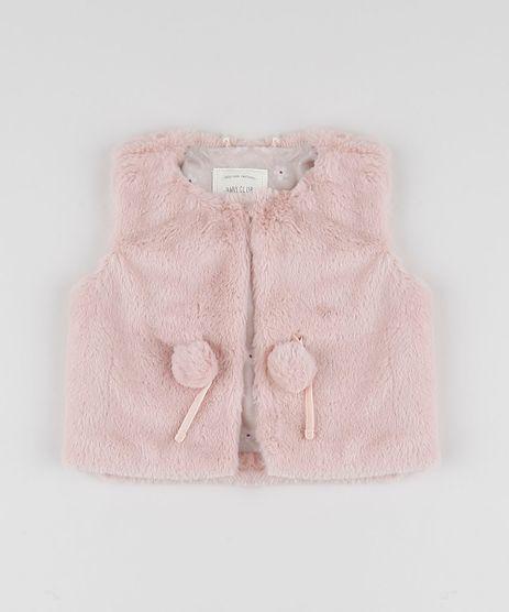Colete-Infantil-em-Pelo-com-Bolsos-Rosa-Claro-9810481-Rosa_Claro_1