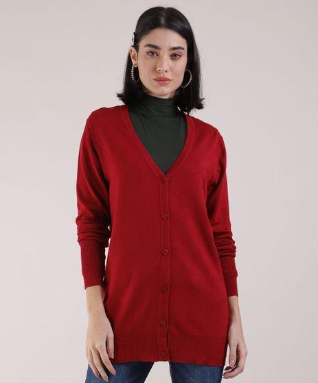 Cardigan-de-Trico-Feminino-Decote-V-Vermelho-Escuro-9810921-Vermelho_Escuro_1