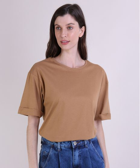 T-Shirt-Feminina-Mindset-Alongada-Manga-Curta-Decote-Redondo-Caramelo-9953858-Caramelo_1