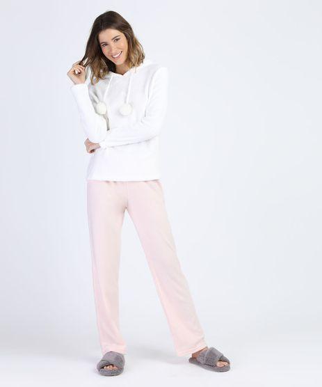 Pijama-de-Plush-e-Fleece-Feminino-Bichinho-com-Capuz-e-Pompom-Manga-Longa-Off-White-9900208-Off_White_1