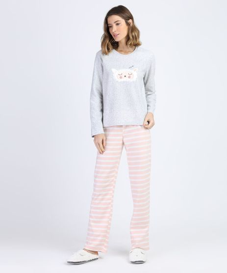 Pijama-de-Fleece-Feminino-com-Bordado-de-Ovelhinha-e-Listras-Manga-Longa-Cinza-Mescla-9900206-Cinza_Mescla_1