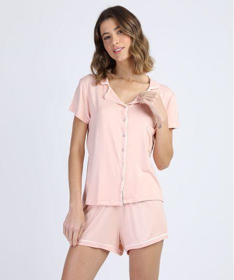 Pijama-Feminino-com-Bolso-e-Botoes-Manga-Curta-Rosa-Claro-9951064-Rosa_Claro_1