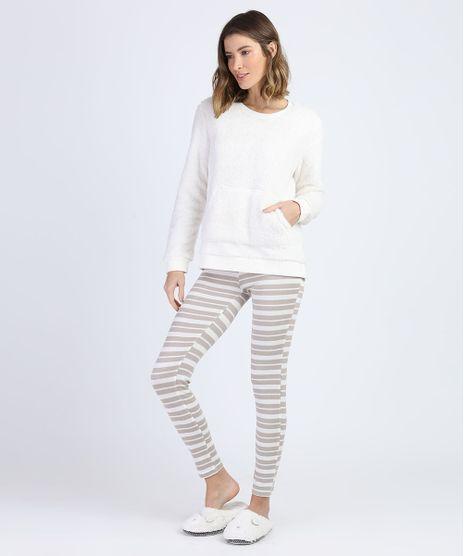 Pijama-de-Plush-Feminino-com-Bolso-e-Listras-Manga-Longa-Off-White-9900204-Off_White_1
