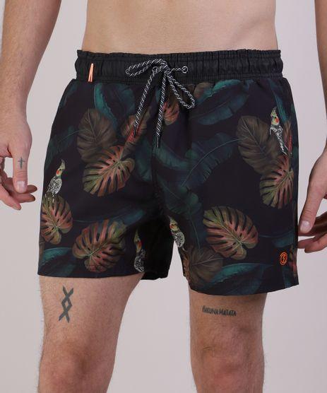 Short-Masculino-Estampado-de-Folhagens-com-Cordao-Verde-Escuro-9952259-Verde_Escuro_1