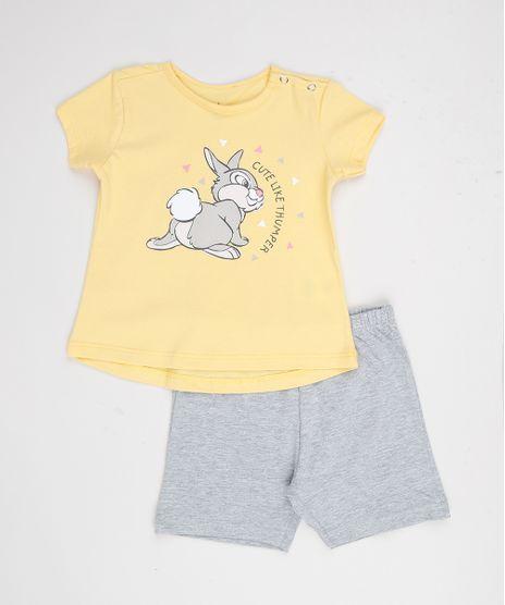 Conjunto-Infantil-Tambor-Bambi-de-Blusa-Manga-Curta-Amarela---Short-em-Moletom-Cinza-Mescla-9951742-Cinza_Mescla_1