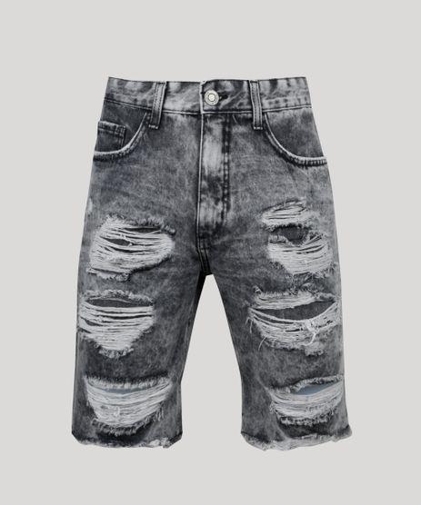Bermuda-Jeans-Masculina-Slim-Destroyed-com-Bolsos--Preta-9952916-Preto_1