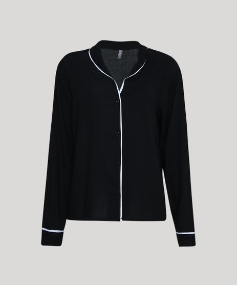 Camisa-de-Pijama-Feminina-Listrada-Manga-Longa-Preto-9954382-Preto_1