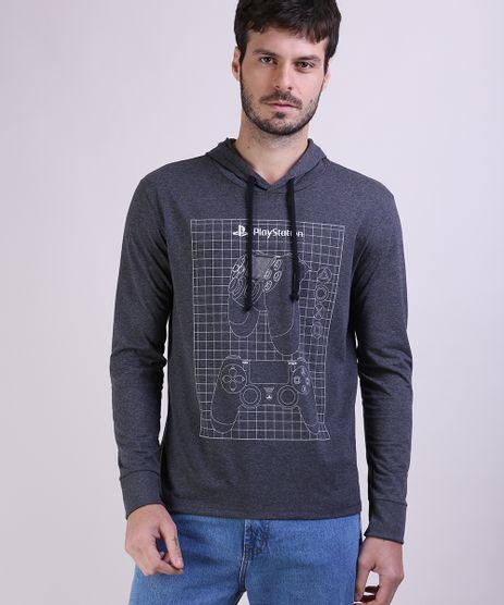Camiseta-Masculina-Playstation-com-Capuz-Manga-Longa-Cinza-Mescla-Escuro-9953262-Cinza_Mescla_Escuro_1