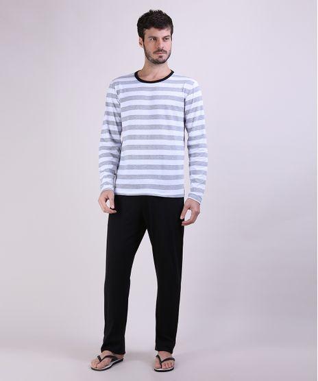 Pijama-Masculino-Camiseta-Estampada-Listrada-Manga-Longa-Gola-Careca-Cinza-Mescla-9953842-Cinza_Mescla_1