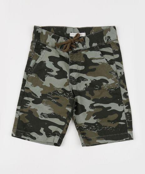 Bermuda-de-Sarja-Reta-Estampada-Camuflada-com-Bolsos-Verde-Militar-9942098-Verde_Militar_1