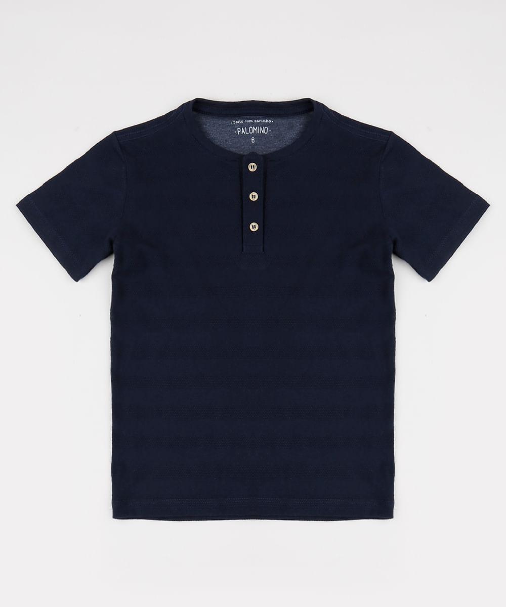 Camiseta Infantil com Bolso Manga Curta Gola Portuguesa Azul Marinho