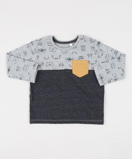 Camiseta-Infantil-com-Bolso-Manga-Longa-Cinza-Mescla-9942419-Cinza_Mescla_1