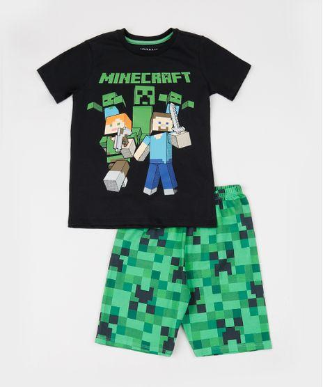 Pijama-Infantil-Minecraft-Manga-Curta-Gola-Careca-Preto-9942703-Preto_1