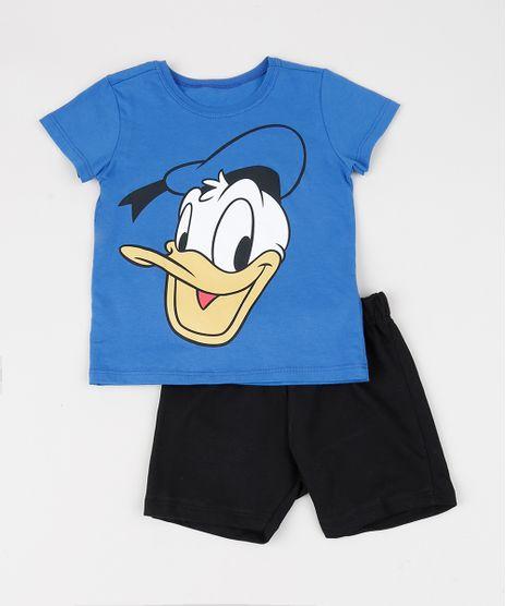 Conjunto-Infantil-de-Camiseta-Donald-Manga-Curta-Azul---Bermuda-em-Moletom-Preto-9942605-Preto_1
