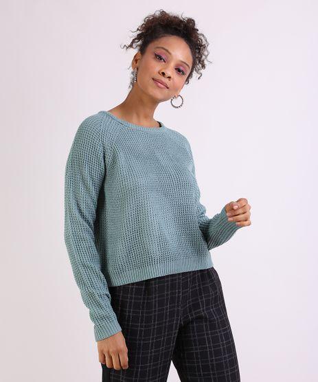 Sueter-Feminino-em-Trico--Decote-Redondo--Azul-9798092-Azul_1
