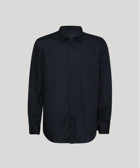 Camisa-Masculina-Comfort-Fit-com-Bolso-Manga-Longa-Preto-7591834-Preto_1