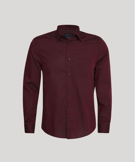 Camisa-Masculina-Comfort-com-Bolso-Manga-Longa-Vinho-Escuro-8826559-Vinho_Escuro_1