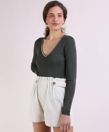 Sueter-Feminino-Basico-em-Trico-Decote-V-Verde-Escuro-9793289-Verde_Escuro_1