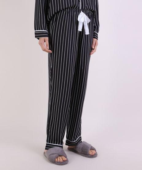 Calca-de-Pijama-Feminina-Reta-Listrada-com-Cordao-Preta-9952283-Preto_1_1