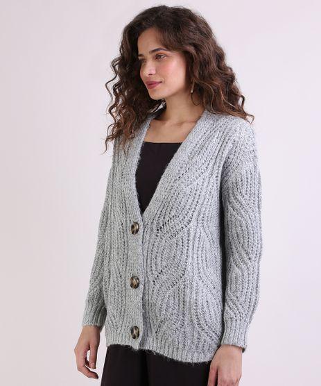 Cardigan-de-Trico-Feminino-Longo-Texturizado-Decote-V-Cinza-9793300-Cinza_1