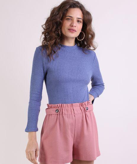 Sueter-Feminino-Canelado-em-Trico-Decote-Redondo-Azul-9806260-Azul_1