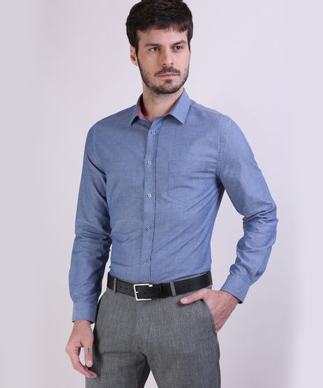 Camisa-Social-Masculina-Slim-com-Bolso-Manga-Longa-Azul-Camisa-Social-Masculina-Slim-com-Bolso-Manga-Longa-Azul_1