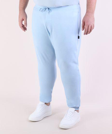 Calca-de-Moletom-Masculina-Plus-Size-Jogger-com-Bolsos-Azul-Claro-9951399-Azul_Claro_1