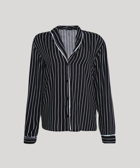 Camisa-de-Pijama-Feminina-Listrada-com-Vivo-Contrastante-Manga-Longa-Preto-9954382-Preto_2_1