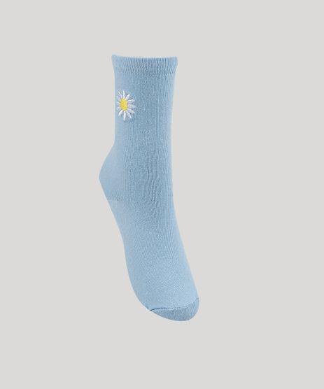 Meia-Feminina-Cano-Alto-com-Bordado-de-Girassol--Azul-Claro-9954795-Azul_Claro_1