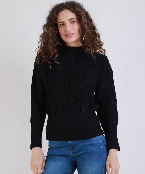 Sueter-Feminino-em-Trico-Leve-Manga-Bufante-Decote-redondo-Preto-9799597-Preto_1
