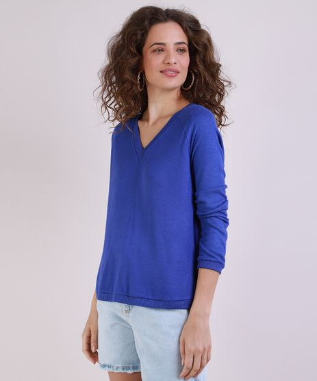Sueter-de-Trico-Feminino-Raglan-Decote-V-Azul-9793751-Azul_Royal_1
