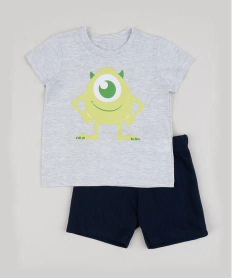 Conjunto-Infantil-Monstros-S-A--de-Camiseta-Cinza-Mescla---Bermuda-em-Moletom-Azul-Marinho-9942610-Azul_Marinho_1