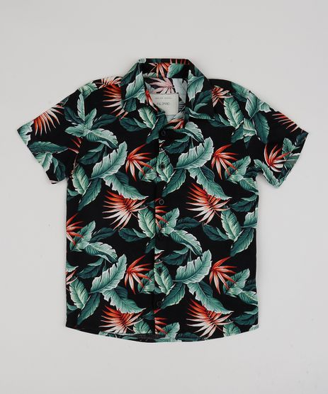 Camisa-Infantil-Estampada-de-Folhagens-Manga-Curta-Preta-9920799-Preto_1
