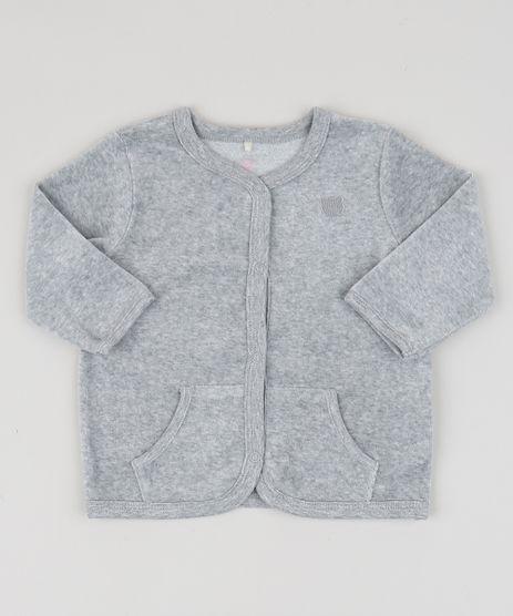 Cardigan-de-Plush-Infantil-Basico-com-Bolsos-Cinza-Mescla-9757331-Cinza_Mescla_1
