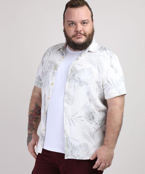 Camisa-Masculina-Plus-Size-Estampada-de-Folhas-Manga-Curta-Branca-9951370-Branco_1