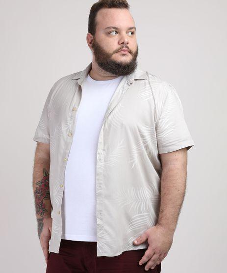 Camisa-Masculina-Plus-Size-Estampada-de-Folhas-Manga-Curta-Bege-Claro-9951371-Bege_Claro_1