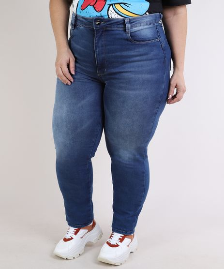 Calca-Jeans-Feminina-Sawary-Plus-Size-Super-Skinny-Cintura-Alta-Compressora--Azul-Escruro-9945294-Azul_Escruro_1
