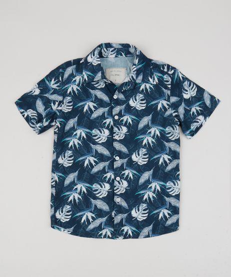 Camisa-Infantil-Estampada-Floral-Manga-Curta-Azul-Marinho-9944100-Azul_Marinho_1