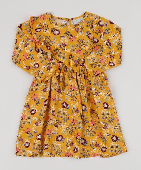 Vestido-Infantil-Estampado-Floral-Manga-Longa-com-Babado-Amarelo-9946738-Amarelo_1