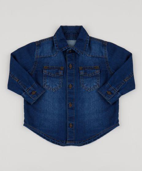 Camisa-Jeans-Infantil-com-Bolsos-Azul-Escuro-9949642-Azul_Escuro_1
