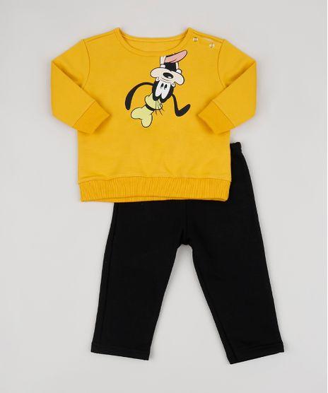Conjunto-Infantil-Pateta-em-Moletom-de-Blusao-Amarelo---Calca-de-Moletom-Preto-9951751-Preto_1