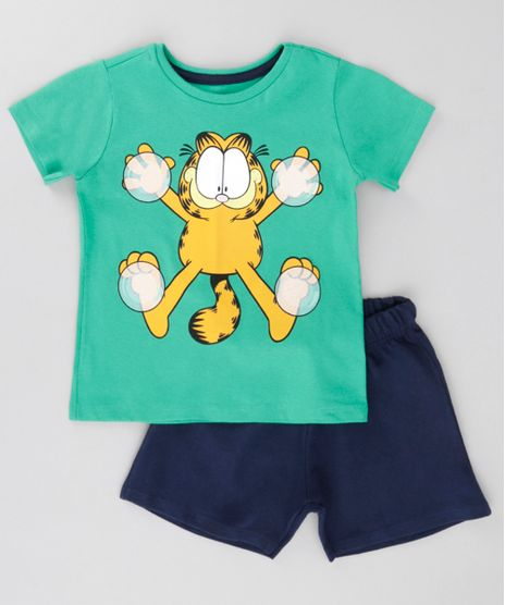 Conjunto-de-Camiseta-Verde---Bermuda-Garfield-Azul-Marinho-8630946-Azul_Marinho_1