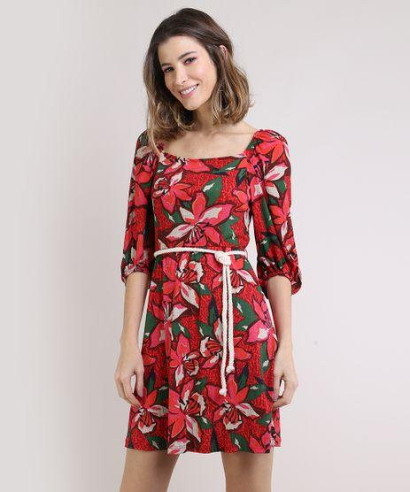 Vestido-Feminino-Curto-Estampado-Floral-com-Cordao-Manga-Bufante-Vermelho-9943096-Vermelho_1