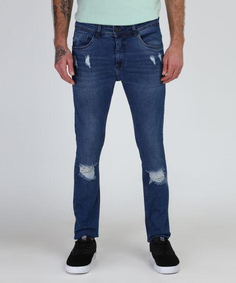 Calca-Jeans-Masculina-Super-Skinny-Destroyed--Azul-Escuro-9944000-Azul_Escuro_1