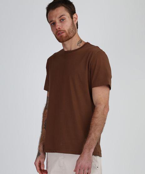 Camiseta-Masculina-Basica-Manga-Curta-Gola-Careca-Marrom-9947820-Marrom_1