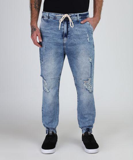Calca-Jeans-Masculina-Jogger-Destroyed-com-Cordao-Azul-Claro-9949988-Azul_Claro_1