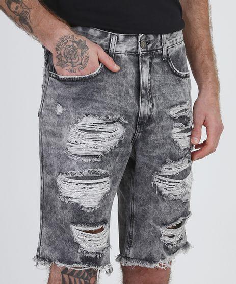 Bermuda-Jeans-Masculina-Slim-Destroyed-Marmorizada-com-Bolsos--Preta-9952916-Preto_1