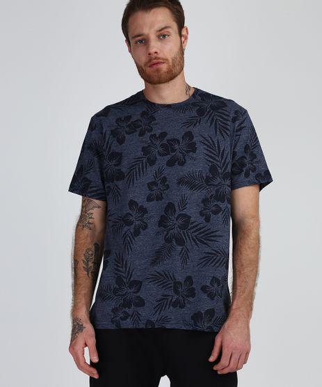 Camiseta-Masculina-Estampada-de-Folhagem-Manga-Curta-Gola-Careca-Azul-Marinho-9942396-Azul_Marinho_1
