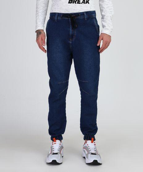 Calca-Jeans-de-Moletom-Masculina-Jogger-com-Cordao-Azul-Escuro-9948803-Azul_Escuro_1